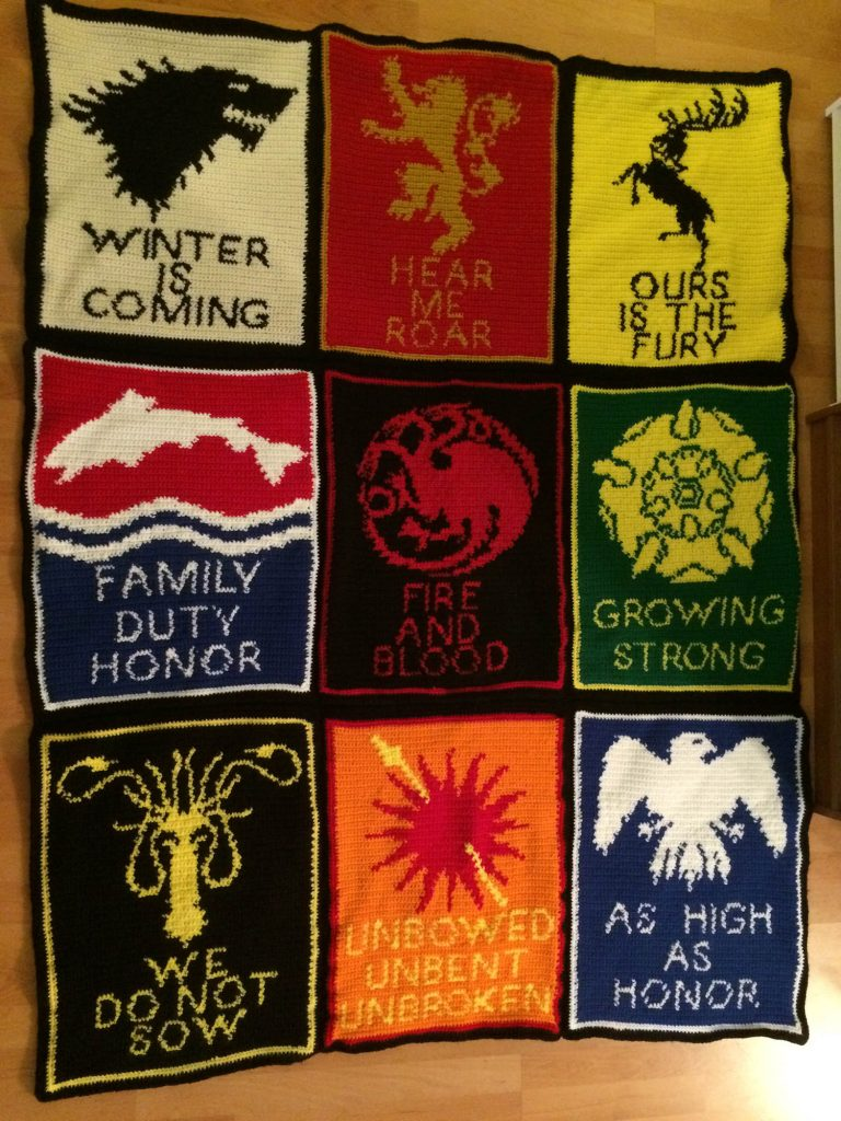 crochet blanket depicting the house sigils from Game of Thrones