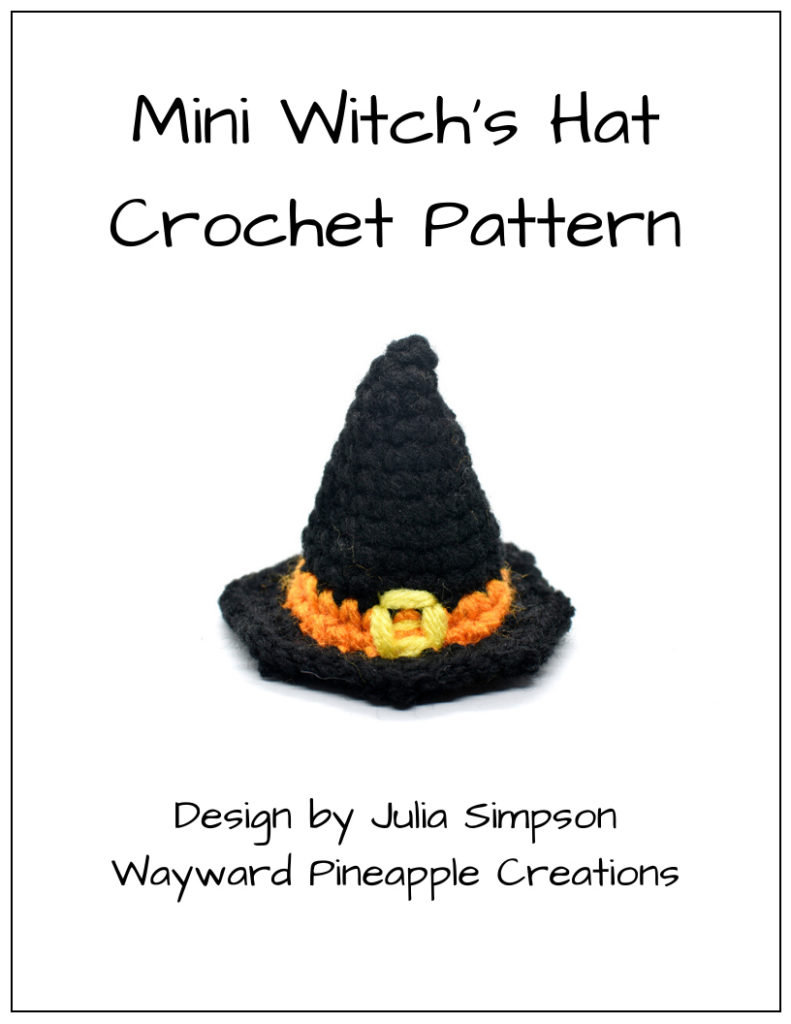 click to download the mini witch's hat crochet pattern