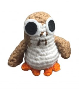 crochet doll of porg from star wars