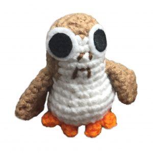 crochet doll of porg from star wars