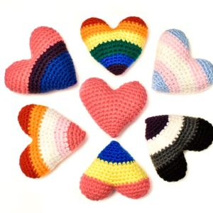 crochet hearts with pride colours
