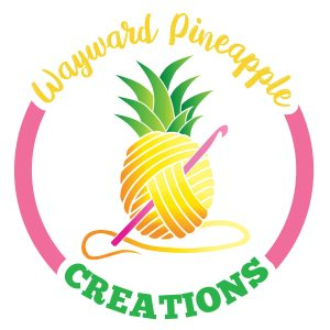 Wayward Pineapple Creations logo, featuring an illustrated pineapple drawn to look like a ball of yarn, with a pink crochet hook stuck through the middle
