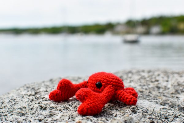 A small crochet crab toy sitting on a rock in front of an ocean bay with blurry boats in the background