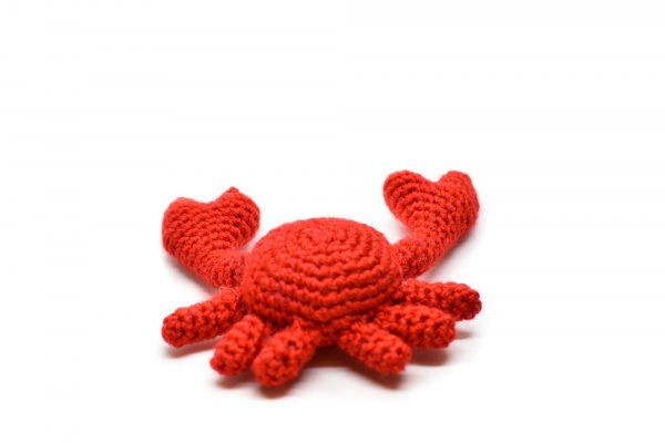 Back view of a small crochet crab against a white background
