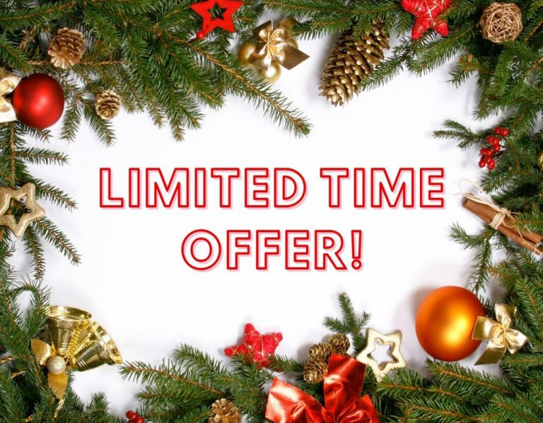 The words Limited Time Offer, surrounded by a border of mistletoe and Christmas decorations