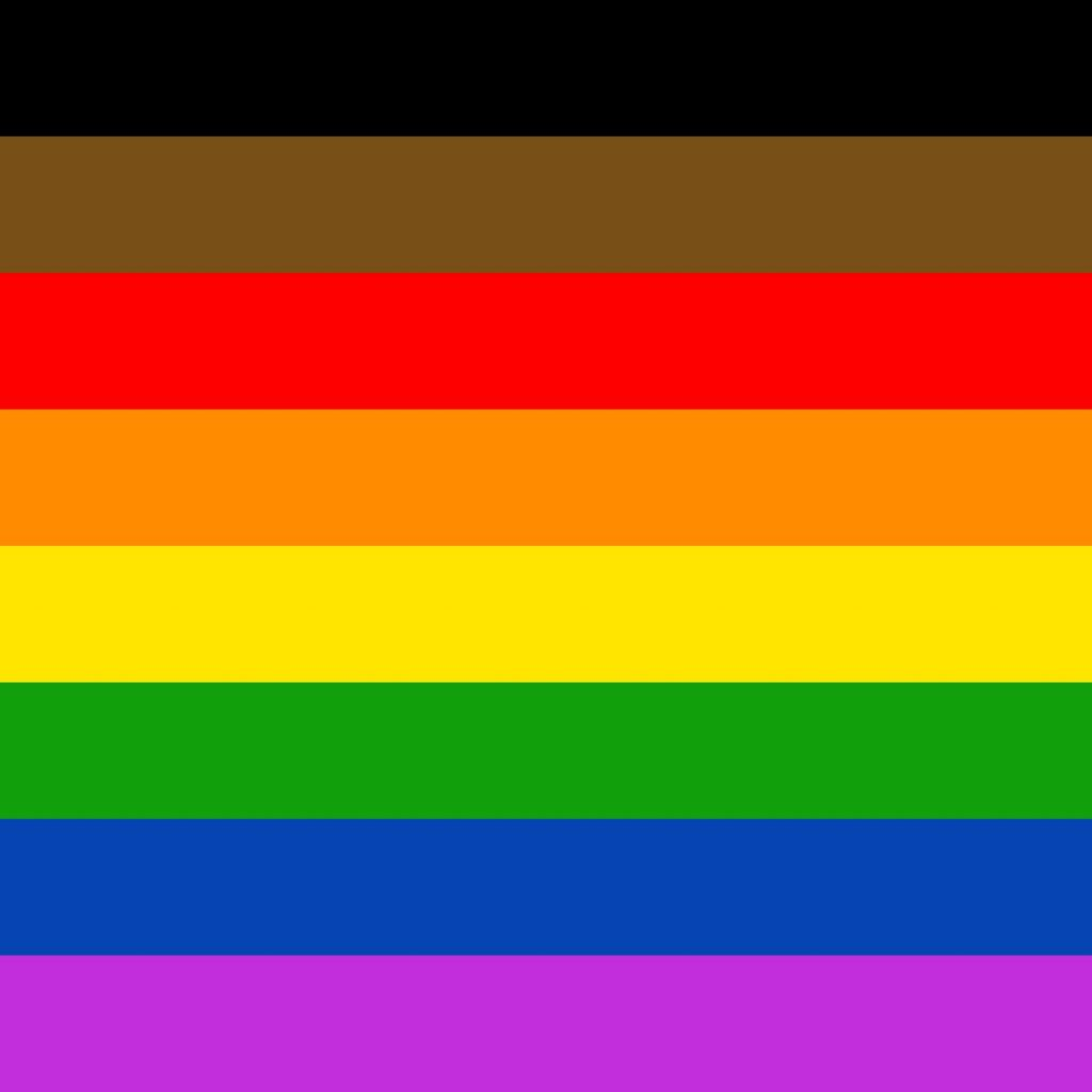 the 8-stripe inclusive rainbow Pride flag - at the top of the rainbow colours there are a brown and a black stripe