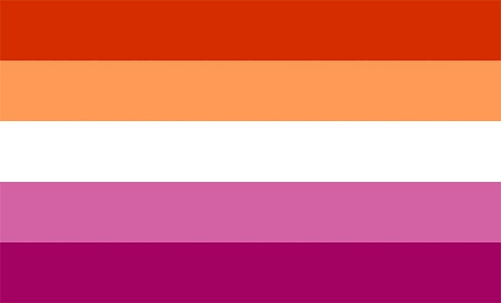 The lesbian pride flag - red, orange, white, pink, dark pink