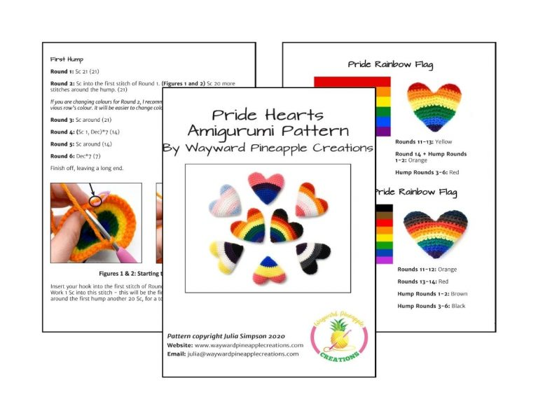 an image showing three sample pages of the pattern PDF