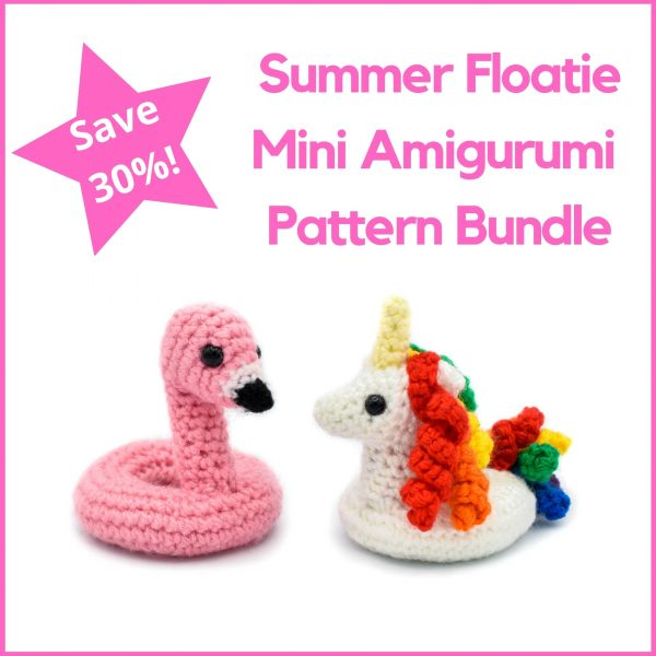 Text: Summer Floatie Mini Amigurumi Pattern Bundle, Save 30%! Below text, an image of a small crochet flamingo floatie next to a small crochet unicorn floatie with rainbow hair and tail