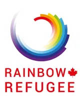 the logo for Rainbow Refugee, showing a rainbow-coloured circle