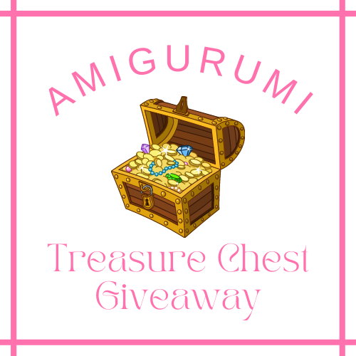Image of a cartoon treasure chest with the words 'Amigurumi Treasure Chest Giveaway'